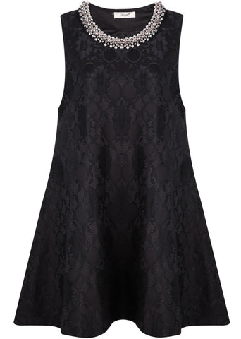 Black Round Neck Sleeveless Bead Lace Loose Dress