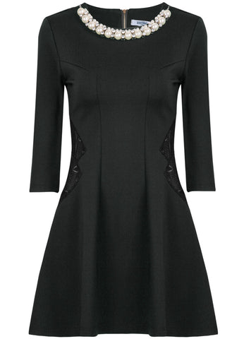 Black Half Sleeve Bead Hollow Dress
