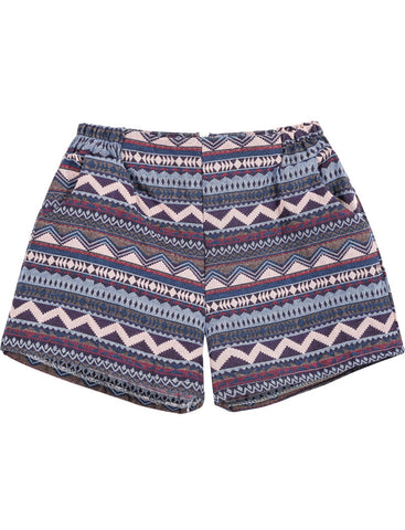 Purple Elastic Waist Tribal Print Shorts