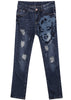 Blue Monroe Print Ripped Denim Pant