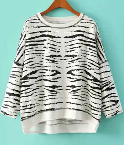 White Long Sleeve Zebra Loose Sweatshirt