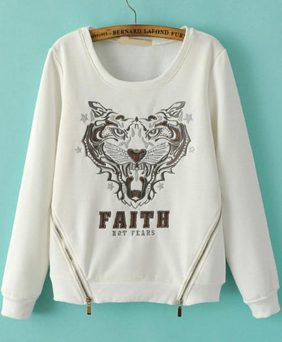 White Long Sleeve Tiger Embroidered Sweatshirt