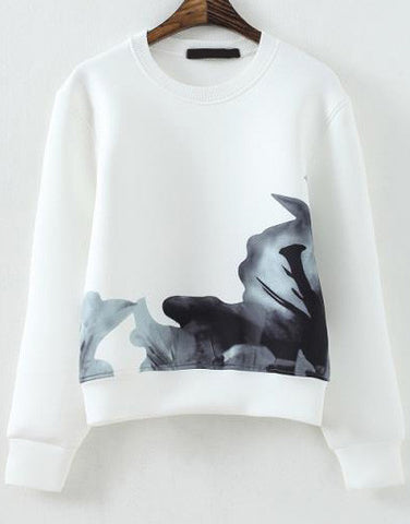 White Long Sleeve Ink Print Crop Sweatshirt
