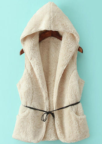 White Hooded Sleeveless Pockets Vest