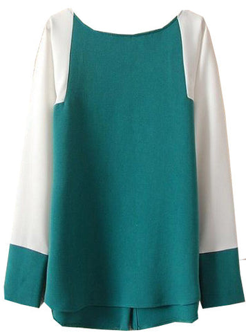 Green Contrast Long Sleeve Buttons Loose Blouse