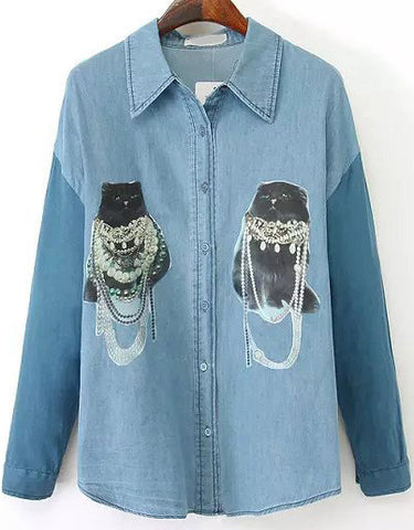 Blue Lapel Long Sleeve Cat Print Denim Blouse