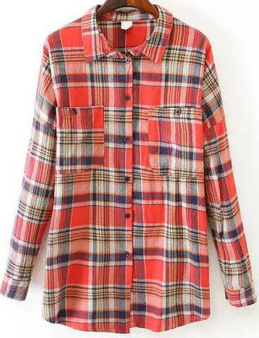 Orange Lapel Long Sleeve Plaid Pockets Blouse