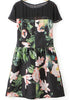 Black Contrast Organza Short Sleeve Floral Dress