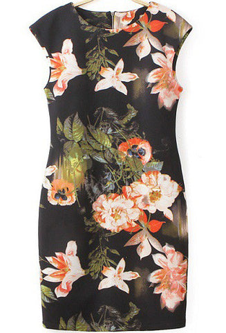 Black Round Neck Floral Slim Bodycon Dress