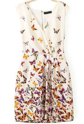White V Neck Sleeveless Butterfly Print Dress