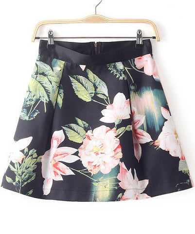 Black Lotus Print Zipper Skirt