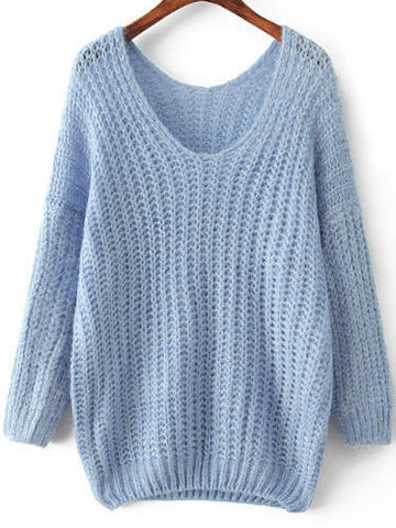 Light Blue V Neck Long Sleeve Mohair Loose Sweater
