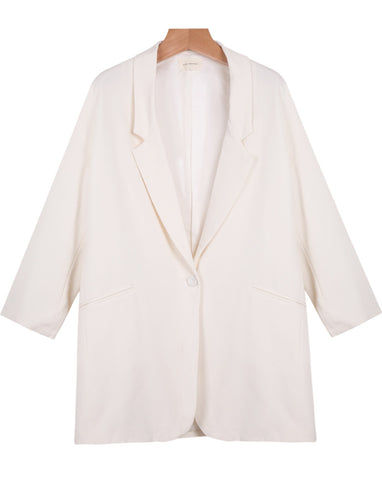 White Notch Lapel Long Sleeve Loose Blazer