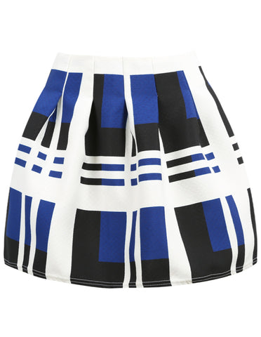 Blue Striped Flare Skirt