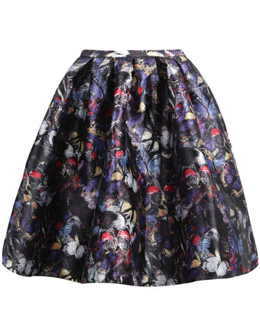 Black Floral Butterfly Print Skirt