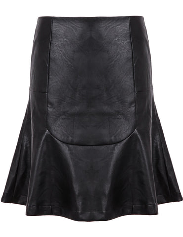 Black Slim Ruffle PU Leather SKirt