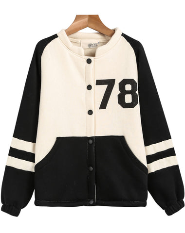 Black White Long Sleeve DEATH 78 Print Jacket