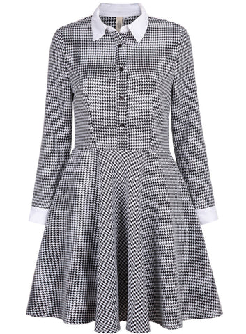 Black Long Sleeve Houndstooth Pleated Dress