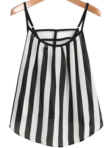 Black White Spaghetti Strap Vertical Stripe Vest