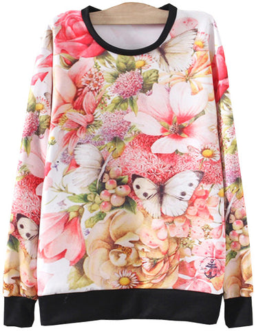 Red Long Sleeve Floral Butterfly Print Sweatshirt
