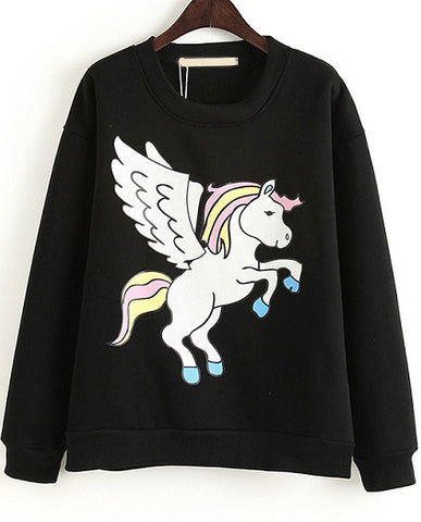 Black Long Sleeve Pegasus Print Loose Sweatshirt