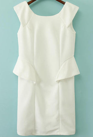 White Sleeveless Slim Ruffle Bodycon Dress