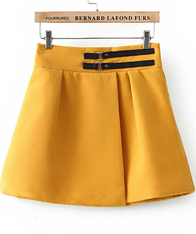 Yellow Leather Buckle Flare Skirt