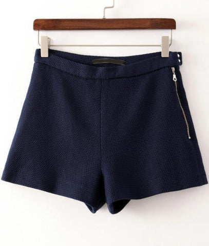 Navy Zipper Straight Shorts