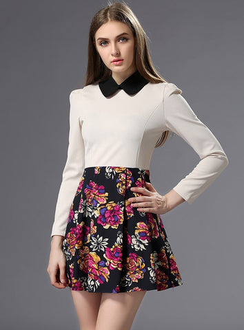 White Long Sleeve Rose Print Slim Dress