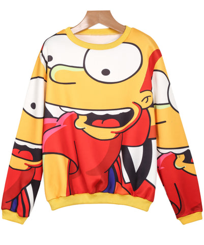 Yellow Long Sleeve Simpson Print Sweatshirt