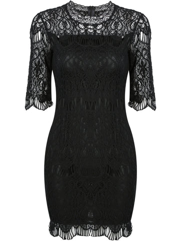 Black Half Sleeve Slim Lace Bodycon Dress