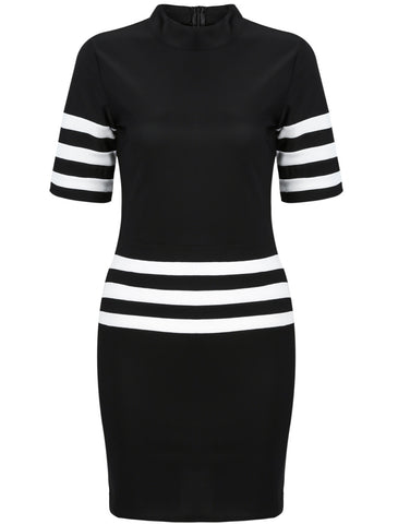 Black Short Sleeve Striped Bodycon Dress