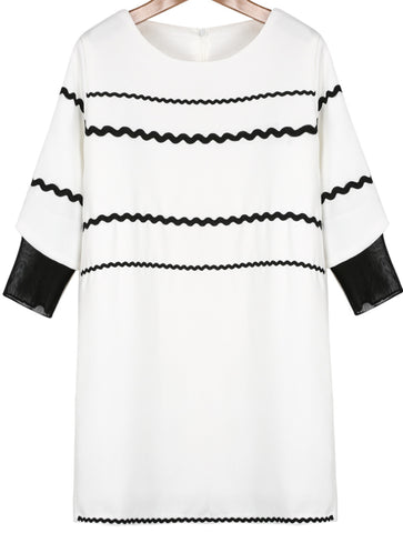 White Half Sleeve Striped Loose Dress