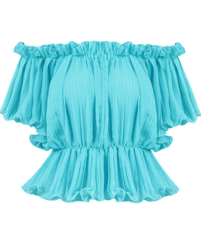 Turquoise Off The Shoulder Pleated Blouse