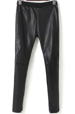 Black Slim PU Leather Pant