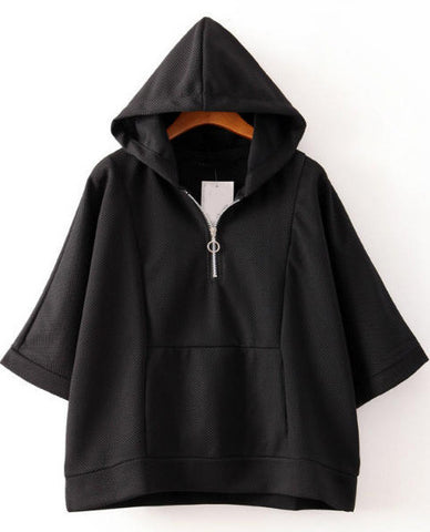 Black Hooded Batwing Sleeve Loose Sweatshirt