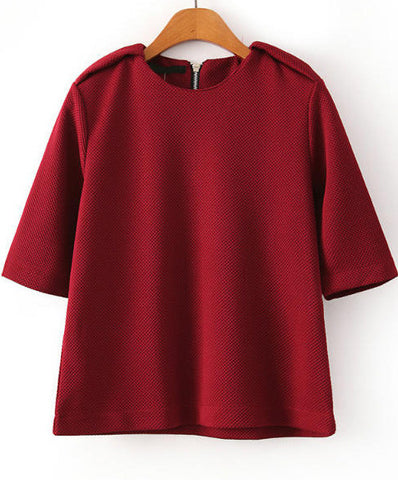 Red Half Sleeve Epaulet Loose Sweatshirt