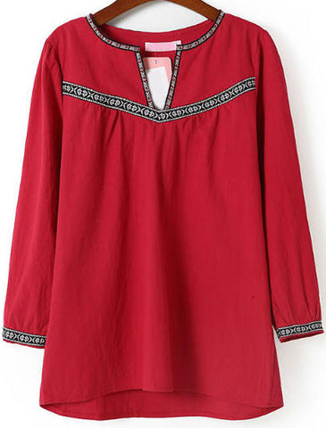 Red V Neck Long Sleeve Embroidered Blouse