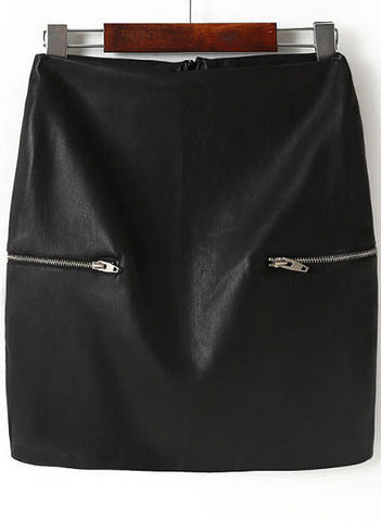 Black Zipper Bodycon PU Leather Skirt