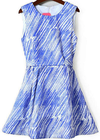 Blue Sleeveless Slim Striped Belt Dress