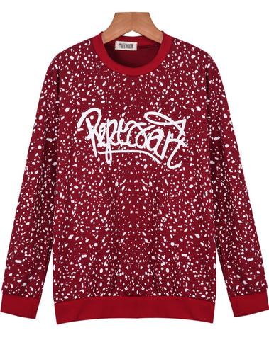 Red Long Sleeve Spots Letters Print Sweatshirt