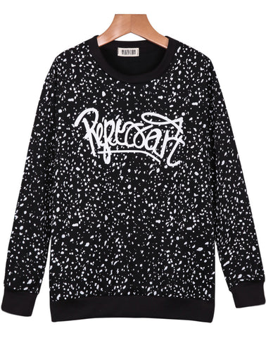 Black Long Sleeve Spots Letters Print Sweatshirt