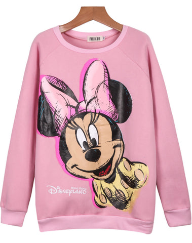 Pink Long Sleeve Mickey Print Loose Sweatshirt