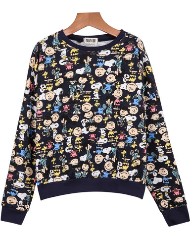 Royal Blue Long Sleeve Cartoon Characters Print Sweatshirt