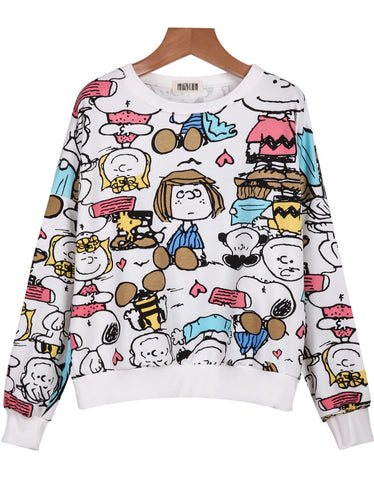 White Round Neck Cartoon Characters Print Sweatshirt