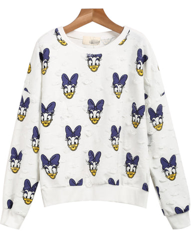 White Long Sleeve Donald Duck Print Ripped Sweatshirt