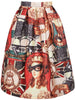 Red Vintage Glasses Beauty Print Skirt