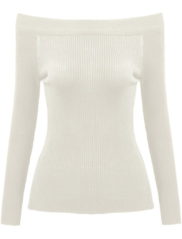 White Boat Neck Slim Knit Sweater