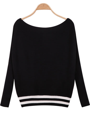 Black Long Sleeve Striped Knit Sweater