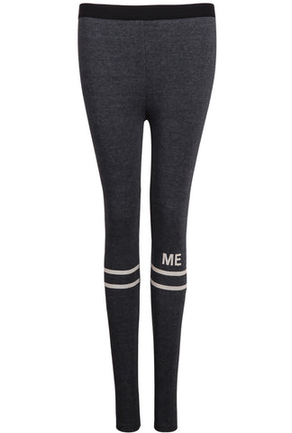 Grey Striped ME Print Leggings